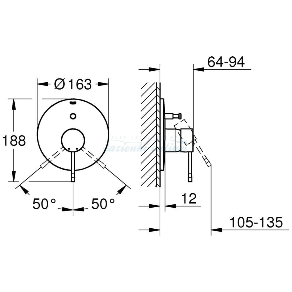 Grohe Essence New Bateria Wannowo Prysznicowa Podtynkowa Element