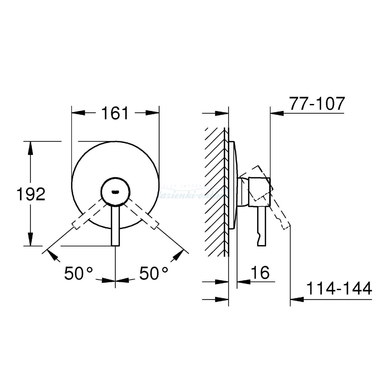 Grohe Essence New Bateria Prysznicowa Podtynkowa Element Zewnętrzny